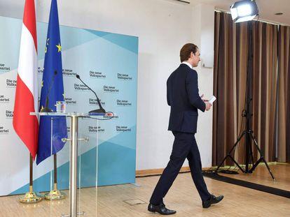El canciller austríaco, Sebastian Kurz,  tras anunciar la ruptura de la coalición de Gobierno con la extrema derecha.