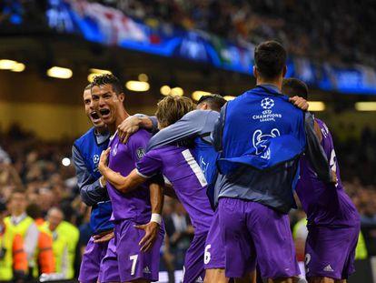 Cristiano celebra su segundo gol a la Juve.