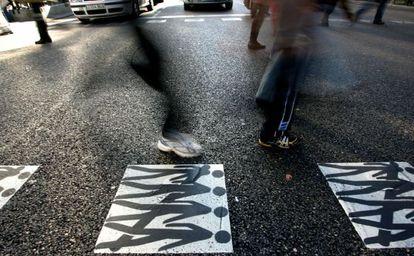 Campaña del Real Automóvil Club de concienciación contra los atropellos en Madrid.