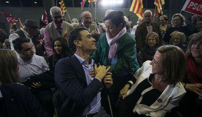 Pedro Sanchez y Carme Chacón, el viernes en Barcelona.