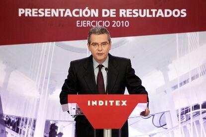 El consejero delegado de Inditex, Pablo Isla, en la presentación de resultados del grupo.