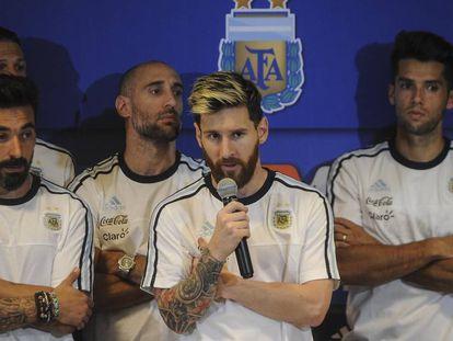 Conferencia de prensa de los jugadores Argentina liderados por Messi