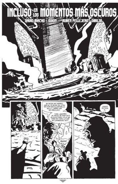 La primera página del único cómic de Batman con guion y dibujo de españoles, David Macho y Rubén Pellejero.