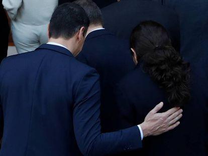 El presidente del Gobierno, Pedro Sánchez, y el vicepresidente, Pablo Iglesias, este martes en el Palacio de La Moncloa.