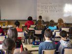 Estudiantes de primaria en una clase de música en una escuela de Valencia, en marzo.