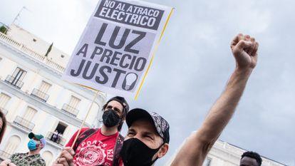 Protesta contra el precio de la luz en Madrid, en junio.