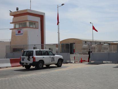 Un todoterreno de la ONU, en el puesto fronterizo del Guerguerat el sábado 14 de noviembre.
