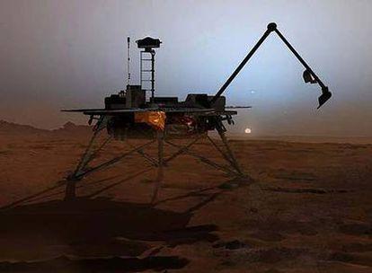 Ilustración de la sonda <i>Phoenix</i> trabajando en la región del Polo Norte de Marte con su brazo robótico de perforación extendido (izquierda)