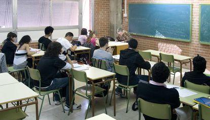 Una aula de educación secundaria en un instituto de Barcelona.