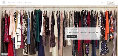 Imagen de la web de la empresa de suscripción de ropa Rent the Runway.