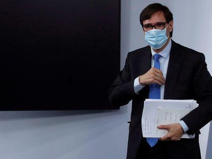 El ministro de Sanidad, Salvador Illa, en el palacio de La Moncloa.