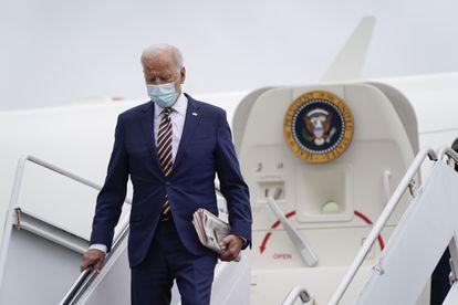 El presidente de EE UU, Joe Biden, bajando del Air Force One, el pasado viernes.