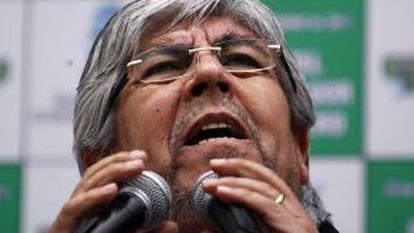 El líder sindical argentino Hugo Moyano, durante la celebración del día del camionero el pasado 15 de diciembre.