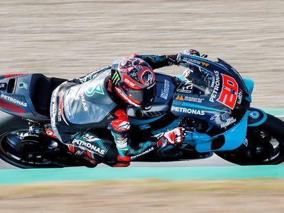 El piloto francés de MotoGP Fabio Quartararo (Petronas Yamaha SRT) este sábado en el circuito de Jerez.