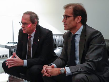 El expresidente de la Generalitat, Quim Torra, y el presidente de Fira de Barcelona, en una imagen de archivo.