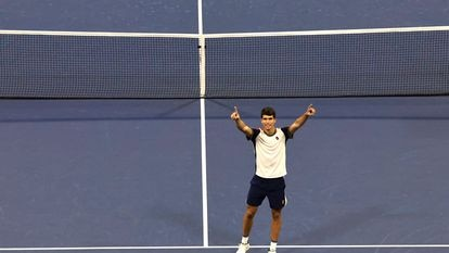 Flushing Meadows (United States), 06/09/2021.- Carlos Alcaraz of Spain reacts after defeating Peter Gojowczyk of Germany at the conclusion of their match on the seventh day of the US Open Tennis Championships at the USTA National Tennis Center in Flushing Meadows, New York, USA, 05 September 2021. The US Open runs from 30 August through 12 September. (Tenis, Abierto, Alemania, España, Estados Unidos, Nueva York) EFE/EPA/PETER FOLEY