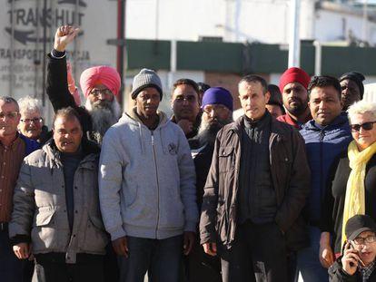 Una protesta de trabajadores de un matadero de Vic, en febrero de 2018.