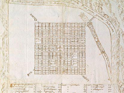 Plano de planta de Esteco II (Nuestra Señora de Talavera de Madrid), anónimo y sin fecha. Indica la asignación de solares en el trazado de esta ciudad.
