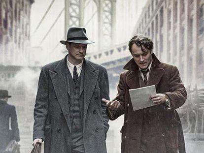 'El editor de libros', película en la que se representa al editor Maxwell Perkins (Colin Firth) y al escritor Thomas Wolfe (Jude Law).