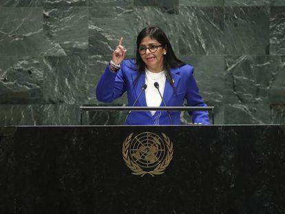 La vicepresidenta de Venezuela, Delcy Rodríguez, en la ONU.