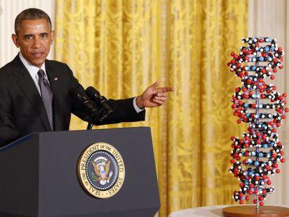 El presidente Obama durante el anuncio en la Casa Blanca.