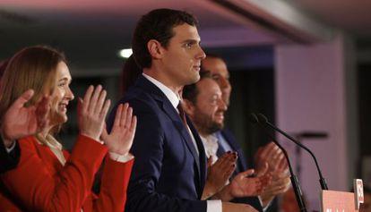 Albert Rivera, durante la noche electoral.