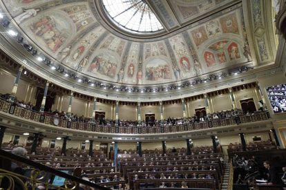 Vista general del hemiciclo durante la primera jornada del debate sobre el estado de la nación, que se celebra hoy en el Congreso de los Diputados. EFE/JuanJo Martín