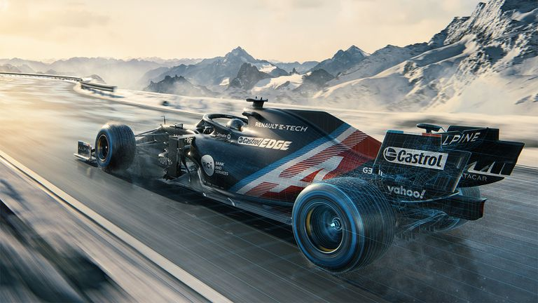 Promotional image of the Alpine team's A521 car for the 2021 Formula 1 season.