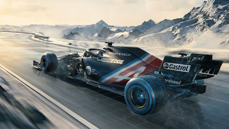 Imagen promocional del monoplaza A521 del equipo Alpine para la temporada 2021 de Fórmula 1.