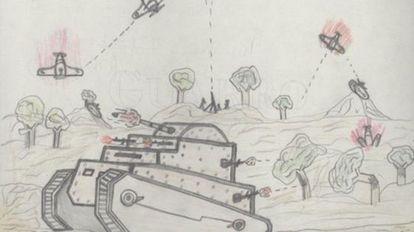 Uno de los dibujos infantiles de la guerra expuestos en Alicante.