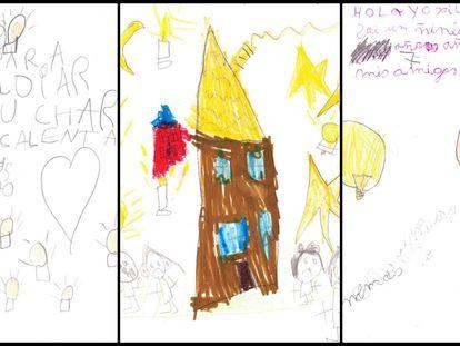 Algunas de las cartas que han escrito los niños de la Cañada Real.