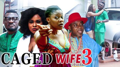 Cartel de una película nigeriana de Nollywood. La traducción del título es 'Esposa enjaulada.