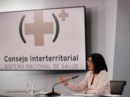 La ministra de Sanidad, Carolina Darias, ofrece una rueda de prensa este miércoles tras presidir el Consejo Interterritorial del Sistema Nacional de Salud (CISNS).