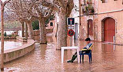 Un niño contempla la inundación provocada por el Ebro en la parte baja de Miravet.