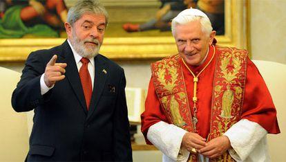 El presidente brasileño, Luiz Inácio Lula da Silva, se ha reunido con Benedicto XVI para hablar de temas sociales
