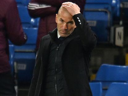 Zidane, en el partido de Champions contra el Chelsea el miércoles en Stamford Bridge.
