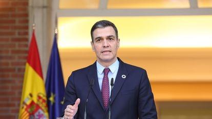 El presidente del Gobierno, Pedro Sánchez, comparece este martes en la Moncloa.
