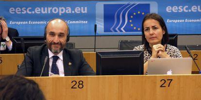 La directora de la DGT en un acto celebrado este lunes en Bruselas.