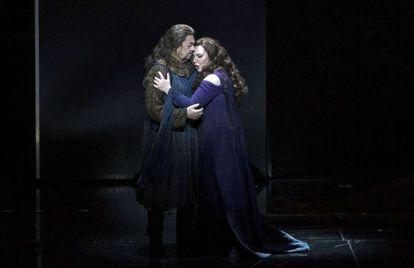 Plácido Domingo y Ekaterina Semenchuk, durante el ensayo general de 'Macbeth'.