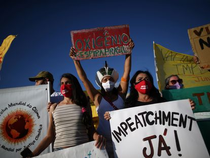 Una protesta en contra del Gobierno de Bolsonaro, en Brasilia, el pasado 24 de enero.