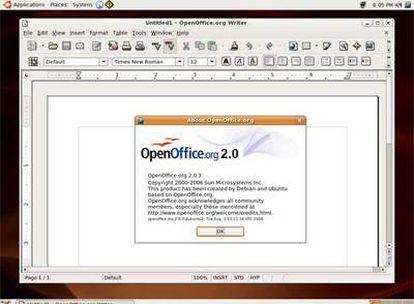 Así se ve OpenOffice, el sustituto del Office de Microsoft, en un escritorio de Ubuntu (una de las distribuciones de Linux más sencillas de usar.