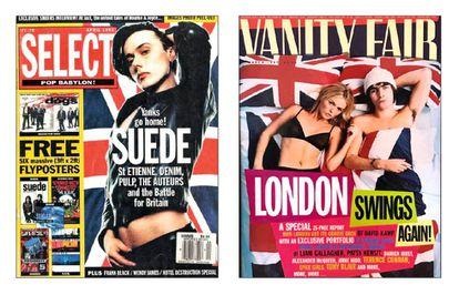 Entre 1993 y 1996, las portadas de la prensa musical y de estilo de vida británica se llenaron de banderas. En las imágenes, Brett Anderson en 'Select' y Liam Gallagher junto a Patsy Kensit en 'Vanity Fair'.