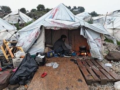Uno de las fotos de Qutaeba, refugiado de Siria que vive en el campo de Moria.