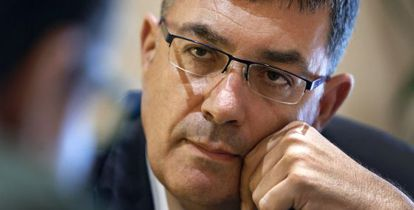 El presidente de las Cortes Valencianas, Enric Morera, durante la entrevista.