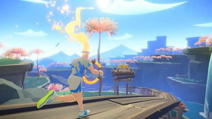 Avatar corriendo en uno de los mundos de Ring Fit Adventure