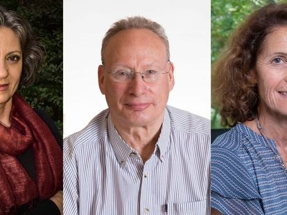 De izquierda a derecha, Sandra Díaz, Mark Westoby y Sandra Lavorel, premio Fronteras del Conocimiento.