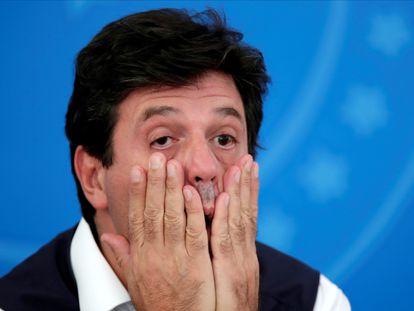 El ministro de Salud de Brasil, Luiz Henrique Mandetta, este martes en su rueda de prensa diaria en Brasilia.