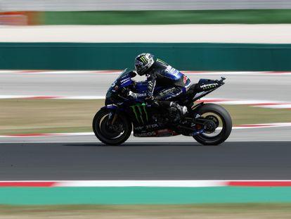Maverick Viñales, durante la sesión de este sábado en el circuito de Misano.