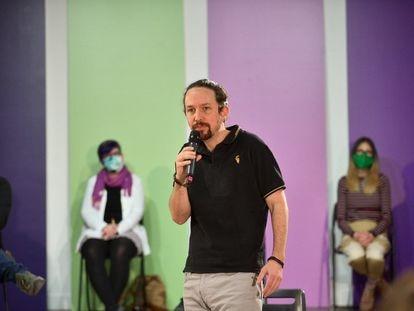 El candidato de Unidas Podemos a las elecciones madrileñas, Pablo Iglesias, el domingo en un mitin.