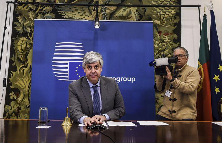El presidente del eurogrupo, Mario Centeno, durante una conferencia de prensa en Lisboa, este jueves.